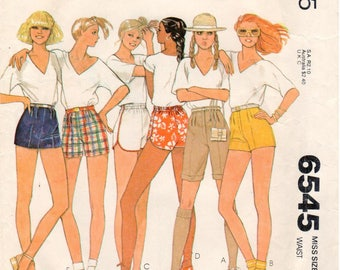 Vintage 1979 McCall's Carefree Pattern 6545 - Misses Set of Shorts - Size 12 - Hot Pants - Walking Shorts - Daisy Dukes