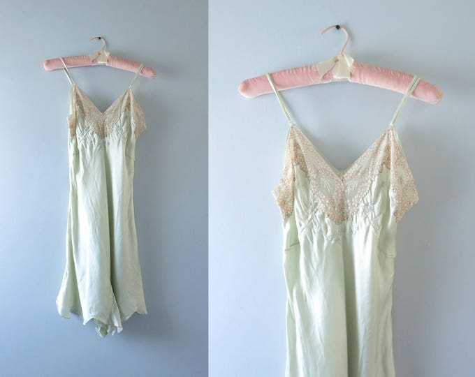 1930s Pale Green Step In Teddy | 30s Bias Cut Green Silk Chemise