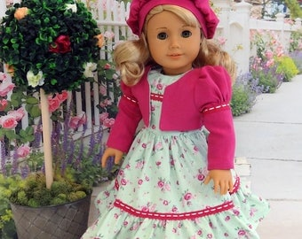 Delicate Rose - dress, jacket & beret with shoes for American Girl doll