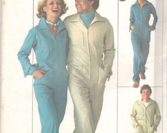 Simplicity 7619 1970s Misses Zip Front Jumpsuit Coveralls Overalls Pattern Womens Vintage Sewing Pattern Size 10 Bust 32 UNCUT