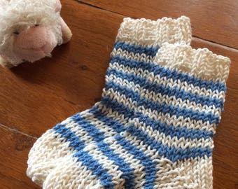 French Striped Baby Socks Knitting Pattern PDF
