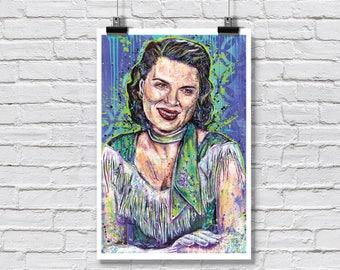 "12 x 18"" - Patsy Cline Art Print - Poster - country music nashville singer rockabilly honky tonk swing"