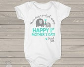 First Mother's Day bodysuit - ELEPHANT personalized first mothers day gift from baby boy (or any age!)  MMGA-063