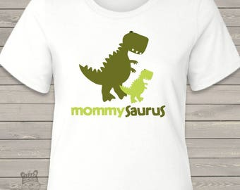 Dinosaur mommysaurus custom shirt - fun new mom or Mothers Day gift  MDF1-016-M