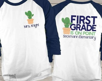 Teacher on point cactus any grade personalized unisex raglan shirt - back to school team teacher shirts MSCL-046