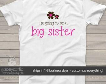 Big sister shirt- pink/brown flower big sister announcement t-shirt  MFLR-004
