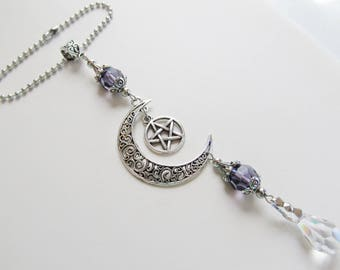 Rearview Mirror Car Charm Moon and Star Car Accessories For Women Suncatcher Crystal Car Ornament
