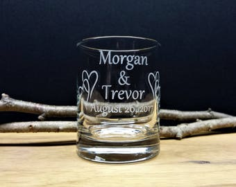 100 Engraved Glass Interlocking Hearts Personalized Wedding Favors Candle Holders