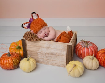 Newborn knit fox hat and pants set