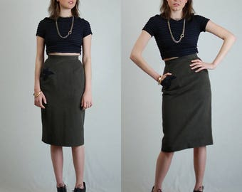 Pencil Skirt Vintage 80s Olive + Black High Waist Urban Indie Pencil Skirt (s)