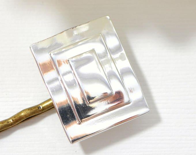 SALE - Silver Bobby Pin Art Deco Hair Pin Handmade Hair Slide Simple Bobby Pin