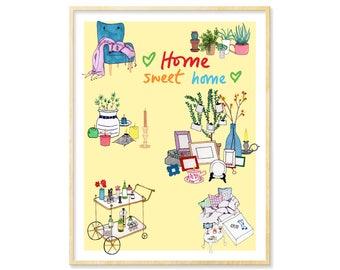 Home Sweet Home, Housewarming Gift, New Home Print, Bar Cart Art, Home Decor, Wedding Gift, New Homeowner, Yellow Art Print, 8.5x11, 11x14