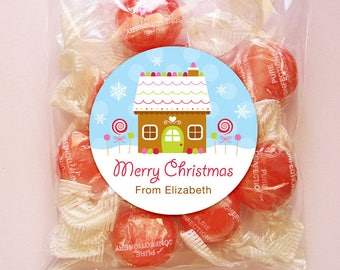 Personalized Christmas Gift Tags, Labels or Stickers - 2, 2.5 or 3 Inch Circle - DIY Printable - Gingerbread House (Digital File)