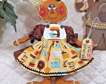 "Primitive Raggedy 13"" GiNgErBrEaD GiRL DoLL w/wire whisk ornie!"