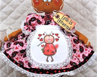 "Primitive Raggedy 15"" VaLeNtiNe'S LaDyBuG Gingerbread~""LoVe BuG""~Doll~NeCkLaCe!!"