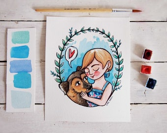 PET portrait, CUSTOM illustration, watercolor and ink drawing, customizable gift for who loves animals, cat, dog portrait, pet illustration