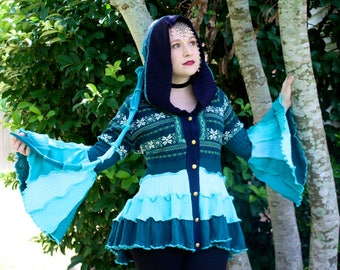 Turquoise Bustle Coat- Upcycled Sweater Coat with a Medieval Liripipe Hood and Bell Sleeves- by SnugglePants- Ready to Ship