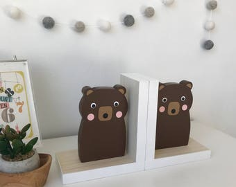 Brown Bear Bookends, Neutral Nursery, Baby Woodland, Woodland Decor, Forest Themed Decor, Kids Bookends, Nursery Decor, Baby Bear