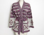 1970s Wrap Cardigan / Pink, Purple & Gray Space Dyed Knit / Bell Sleeves / Vintage 70s Boho Belted Sweater