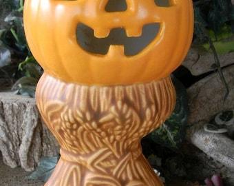 Jack O Lantern pumpkin on Corn stalks  ceramic pottery statue fall Halloween JOL Vintage style Lighted