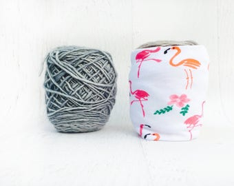 Flamingo Yarn Bowl- Tropical Yarn Keeper- Yarn Organizer- Yarn Storage- Yarn Cosie- Crochet Accessories- Yarn Holder- Skein Coats- Knitting