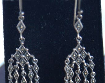 "Marcasite Chandelier Pierced Earrings, Sterling Silver, ""Thailand"" Vintage (Q12)"