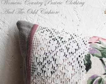 Cabbage Rose Vintage Pillow Cushion Dusky Pink Dove Grey Striped Ticking Antique Lace Crochet Country House Handmade Shabby Couture