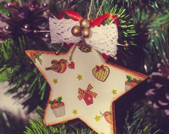 Rustic Wooden Christmas star tree ornaments, Christmas Xmas gift Christmas ornaments Holiday decoration Christmas gift, Christmas decor
