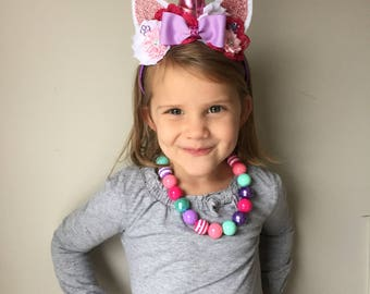 Pink and Purple Boutique Unicorn Headband