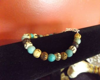 Carved Bone Bracelet, Bone and Turquoise Bracelet, Bracelet, Boho Jewelry