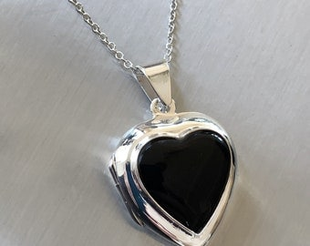 "Sterling Silver Heart locket with onyx on 16"" chain"