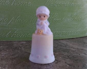 Love Covers All Enesco Porcelain Thimble (c) 1984 Samuel J Butcher 12254 Vintage Enesco Thimble