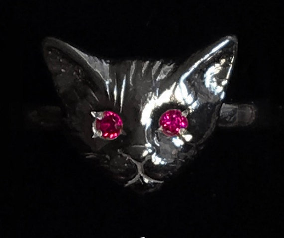 Black Sterling Silver Kitty Cat Ring with Ruby Eyes