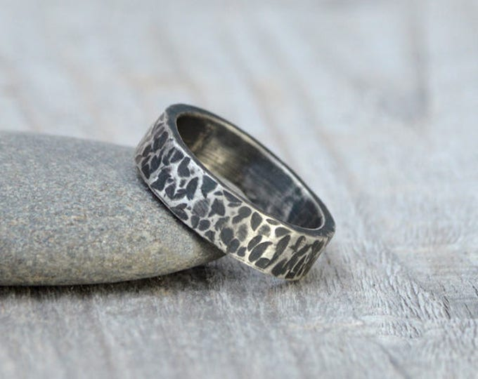 Gun Metal Textured Wedding Band in Sterling Silver With Personalized Message Inside, 5.5mm Wide Rustic Wedding Ring