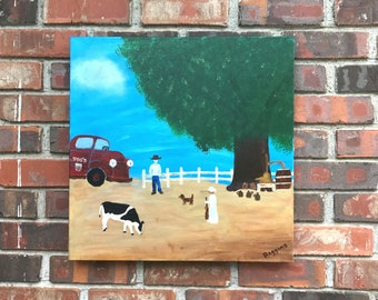 "Primitive Outsider Southern Folkart - Original Painting ""Visiting the Still"""