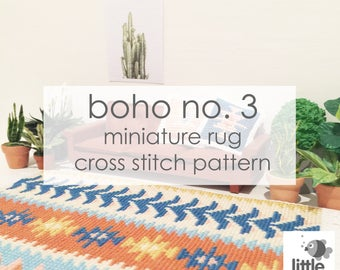 "Digital Download ""Boho No. 3 Dollhouse Floor Rug"" - modern miniature for dollhouse / pdf cross stitch embroidery pattern"