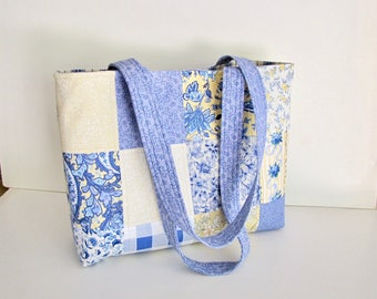 French Country tote Bag,  Blue and Yellow Tote bag, French Country Chic, Handmade, Cottage Chic, Brunschwig, Quilted  Bag, Large Tote Bag