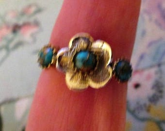 RING  - TRIPLE - Turquoise -  925  - Sterling Silver - Vintage - Size 9 1/4 Turquoise275