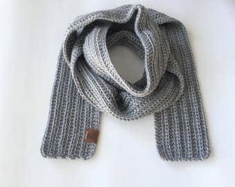 Mens Scarf Gray Crochet Man Long Masculine Unisex Neck Warmer 4 Inches Wide MADE TO ORDER Men Fashion Fathers Day Gift for Him