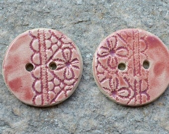 2 big Stoneware buttons with lace design in lovely pink - 4.5 cm diam