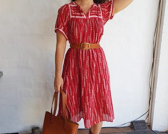 Vintage Red Indian Gauze Dress, Free Fit Style