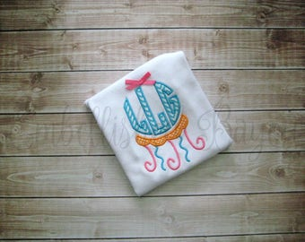 Jellyfish with Monogram Applique Tank Top or Ruffle T-shirt for Girls
