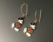 Mickey Mouse émail boucles d'oreilles - Vintage Walt Disney Productions - 14K or Earwires