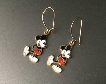 Mickey Mouse Enamel Pierced Earrings - Vintage Walt Disney Productions - 14K Gold Earwires