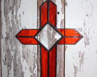 Stained glass beveled cross, orange, square bevel