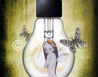 Fairy Art Print - Fairy And Moths - Digital Painting - A4 Art Print - Shine