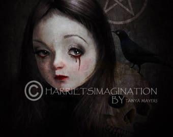 Dark Art Print - Goth Girl Portrait - Witch Art Print - Occultist