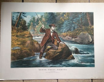 1968 Currier and Ives Brook Trout Fishing Antique Illustration