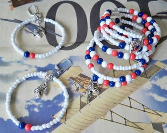 Set - Florida Gators Wrap Bracelet and Earrings - White Seed Beads - Blue and orange beads - Gator charms - college jewelry - bycat