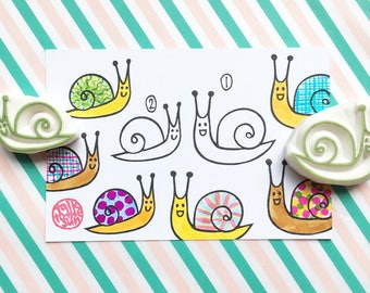 snail stamp. large small snail. diy birthday invites. card making. gift for kids nature lovers. hand carved rubber stamps by talktothesun